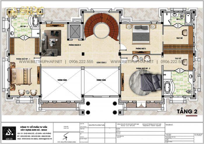 6 Bản vẽ tầng 2 biệt thự lâu đài 3 tầng 1 tum tại vĩnh phúc sh btld 0046
