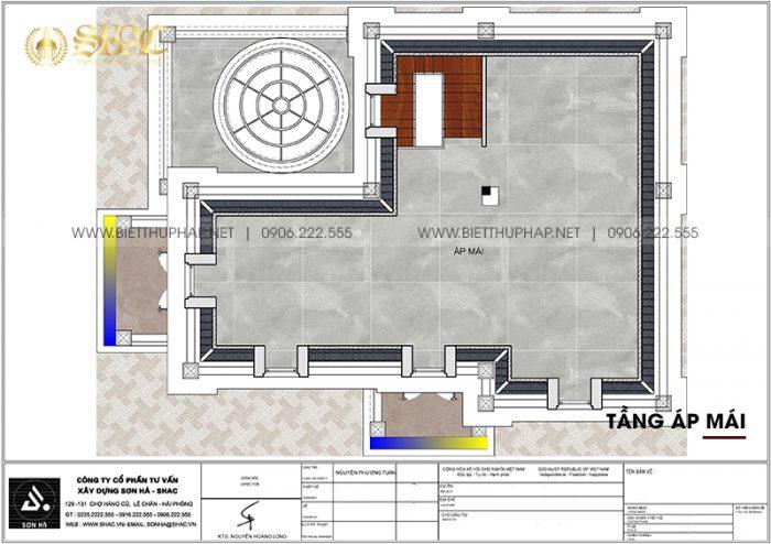 6 Bản vẽ tầng áp mái biệt thự tân cổ điển 3 tầng tại hải phòng sh btcd 0067