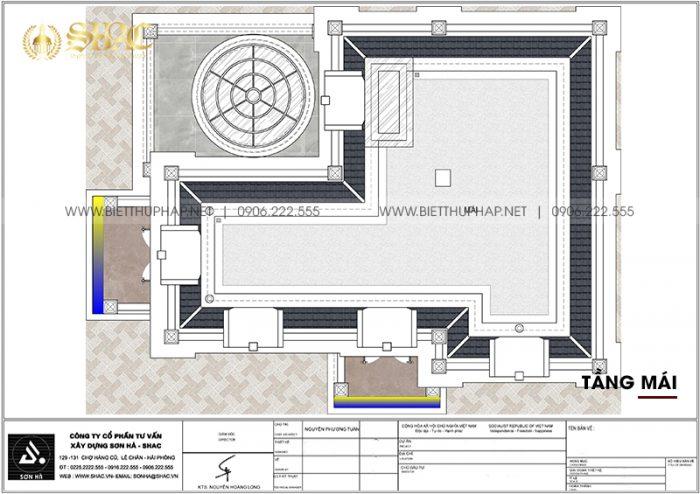 7 Mặt bằng tầng mái biệt thự tân cổ điển 2 mặt tiền tại hải phòng sh btcd 0067