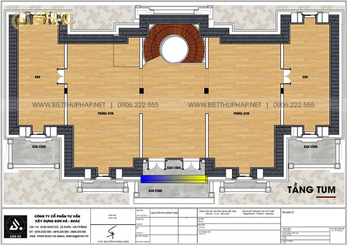 8 Bản vẽ tầng tum biệt thự lâu đài mặt tiền 25m tại vĩnh phúc sh btld 0046