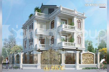 BÌA thiết kế biệt thự tân cổ điển 3 tầng 1 tum 2 mặt tiền tại hà nội sh btcd 0066