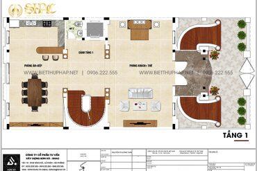 5 Bản vẽ tầng 1 biệt thự lâu đài cổ điển đẹp tại hà nội sh btld 0047