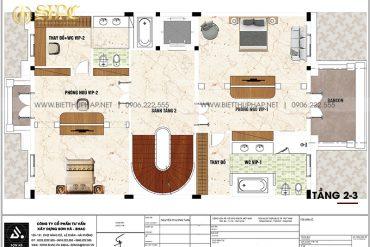 7 Bản vẽ tầng 2 3 biệt thự lâu đài mặt tiền 10m tại hà nội sh btld 0047
