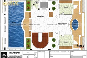 9 Bản vẽ tầng 5 biệt thự lâu đài cổ điển tại hà nội sh btld 0047