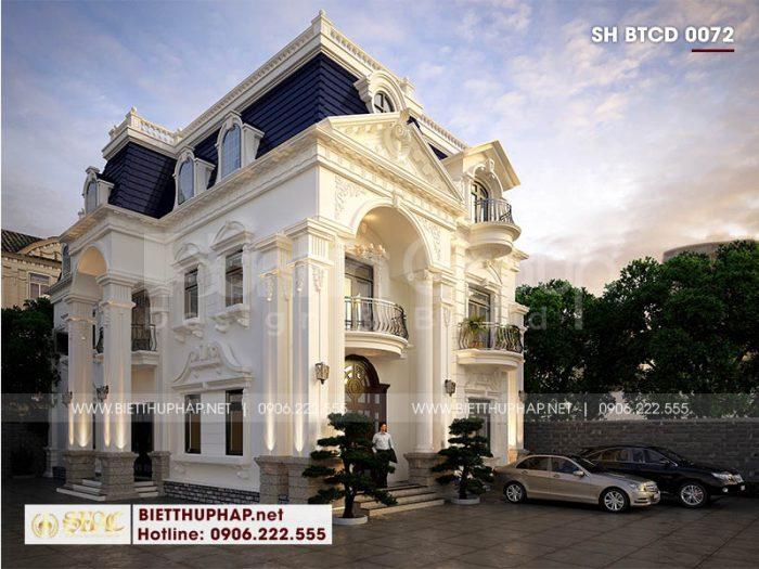 Ngoại thất biệt thự 3 tầng ấn tượng phong cách tân cổ điển Pháp