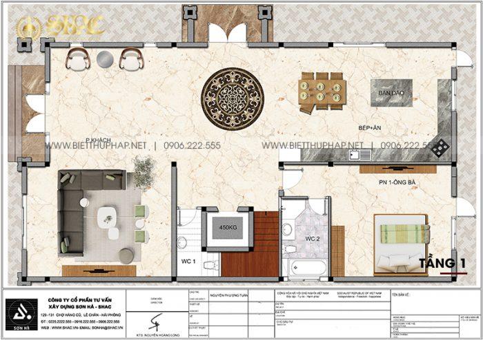 Tối ưu công năng tầng 1 biệt thự tân cổ điển 3 tầng 5 phòng ngủ