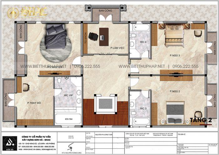 Tối ưu công năng tầng 2 biệt thự tân cổ điển 3 tầng 5 phòng ngủ