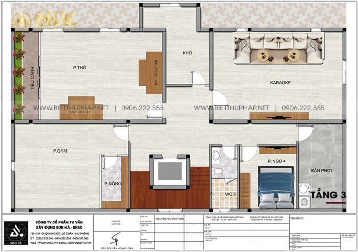 Tối ưu công năng tầng 3 biệt thự tân cổ điển 3 tầng 5 phòng ngủ