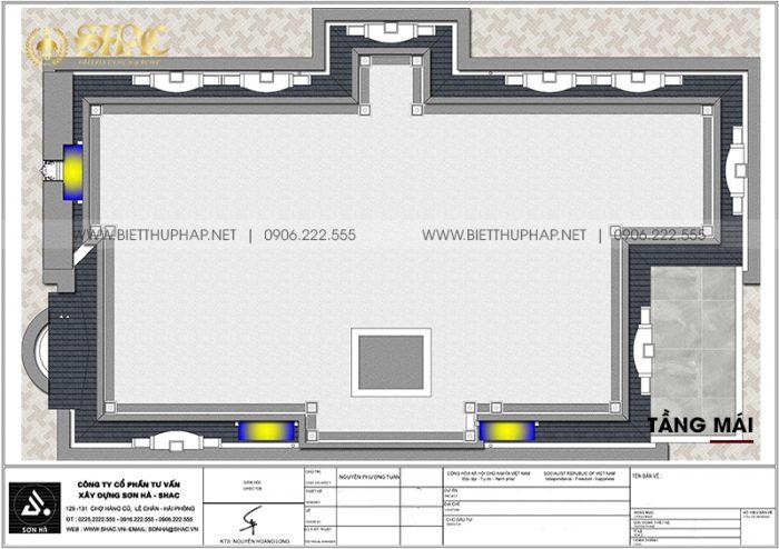 Tối ưu công năng tầng mái biệt thự tân cổ điển 3 tầng 5 phòng ngủ